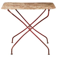 French Rusty Red Metal Table