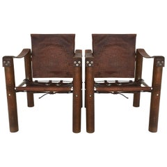 Modern Safari Chairs Patinated Leather, Brazil 1970s