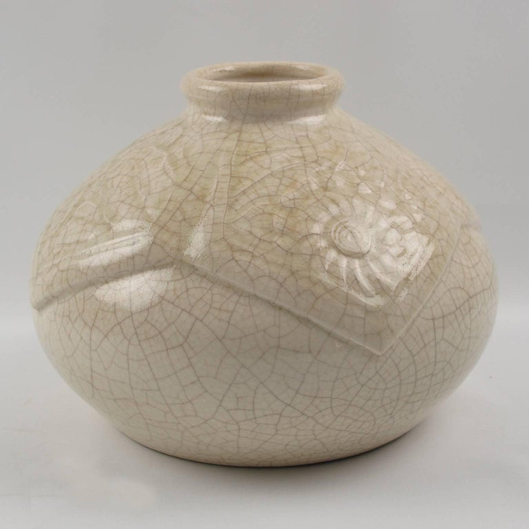 French Saint Clement 1930s Art Deco Crackle Glaze Ceramic Vase In Good Condition For Sale In Atlanta, GA