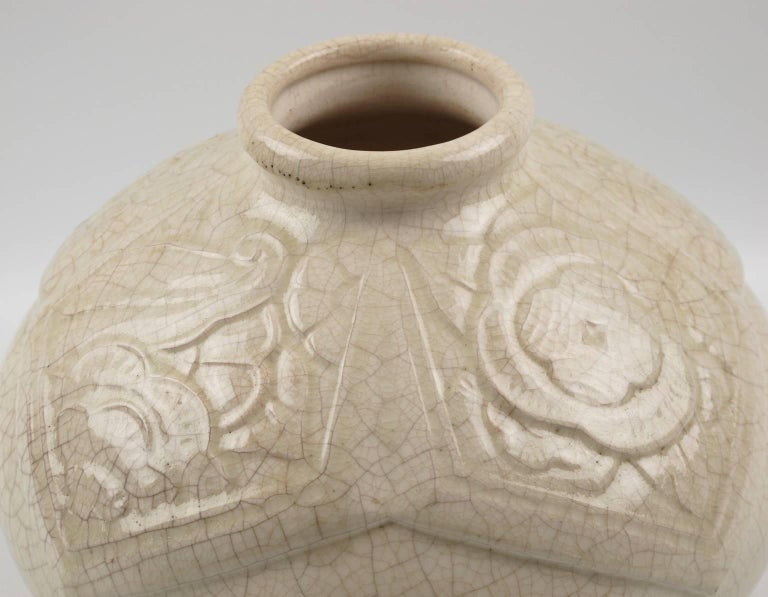 French Saint Clement 1930s Art Deco Crackle Glaze Ceramic Vase For Sale 1