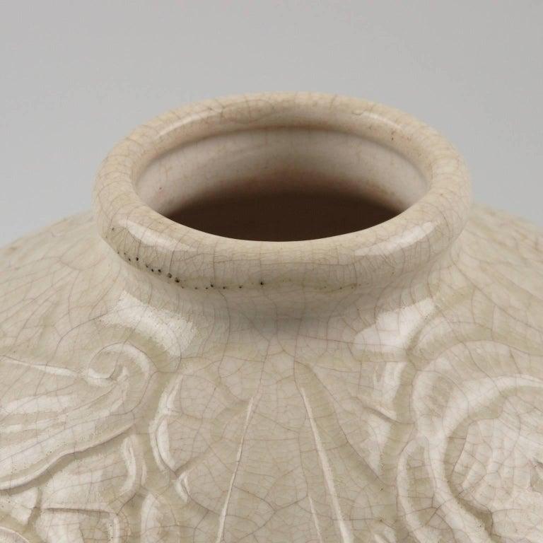French Saint Clement 1930s Art Deco Crackle Glaze Ceramic Vase For Sale 2