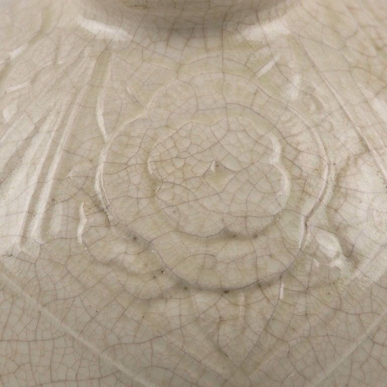French Saint Clement 1930s Art Deco Crackle Glaze Ceramic Vase For Sale 4