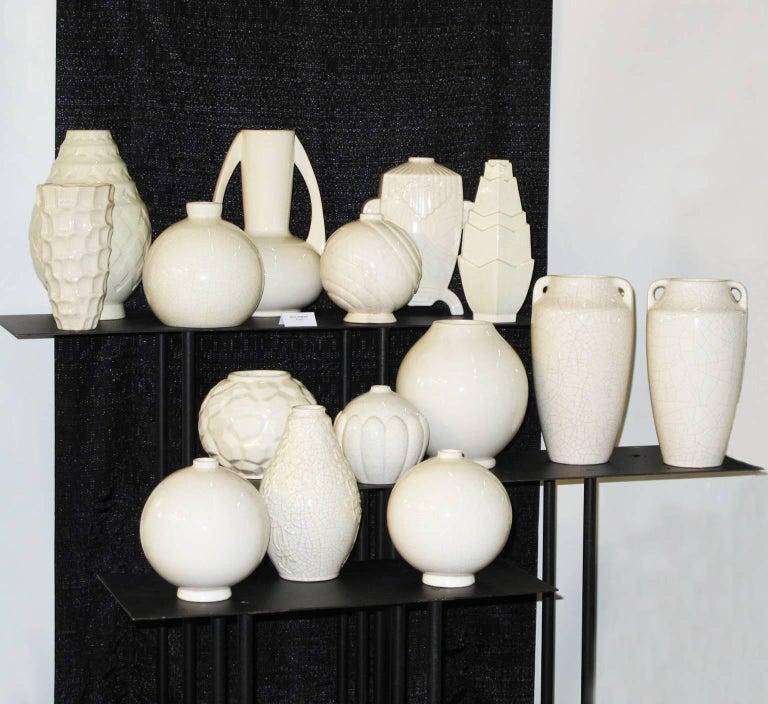 French Saint Clement 1930s Art Deco Crackle Glaze Ceramic Vase For Sale 5