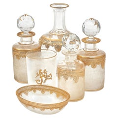 French Saint Louis Crystal Empire Style Six-Piece Dressing Table Set, circa 1900