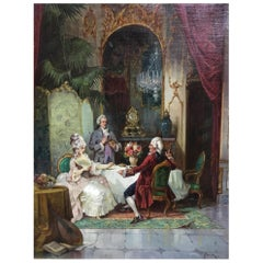 French Salon Scene Oil on Canvas Painting