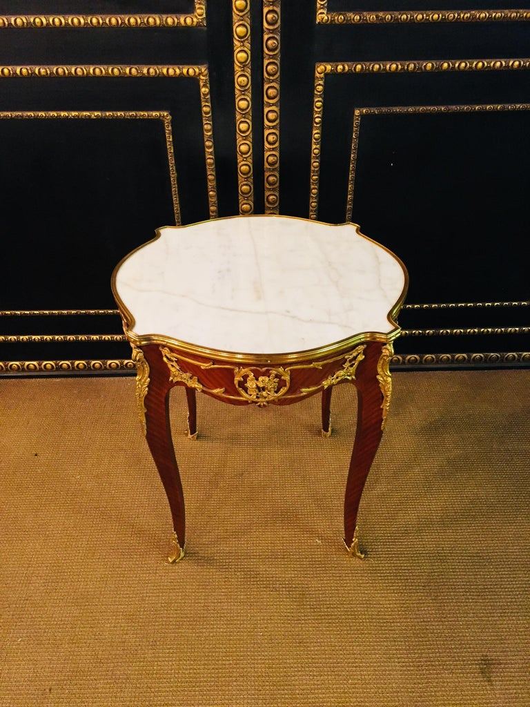 French Salon Table with Marble in Louis Quinze Stile For Sale 4