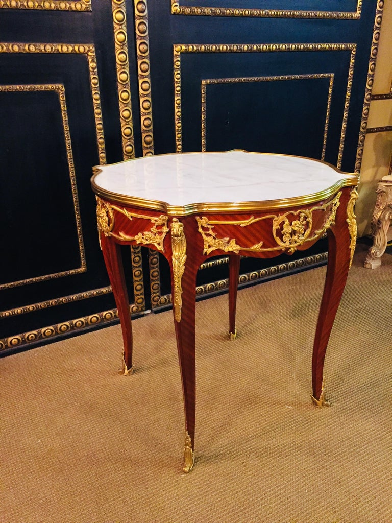 French Salon Table with Marble in Louis Quinze Stile For Sale 6