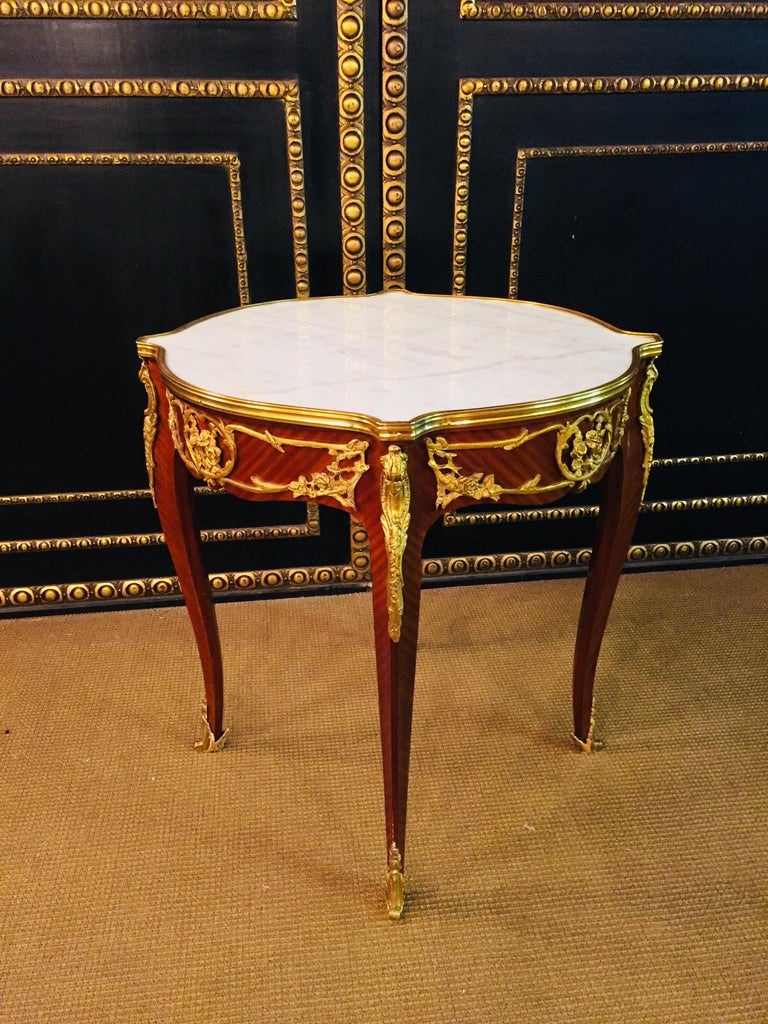French Salon Table with Marble in Louis Quinze Stile For Sale 7