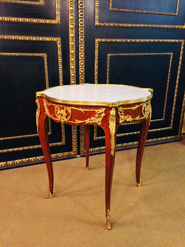 French Salon Table with Marble in Louis Quinze Stile For Sale 8
