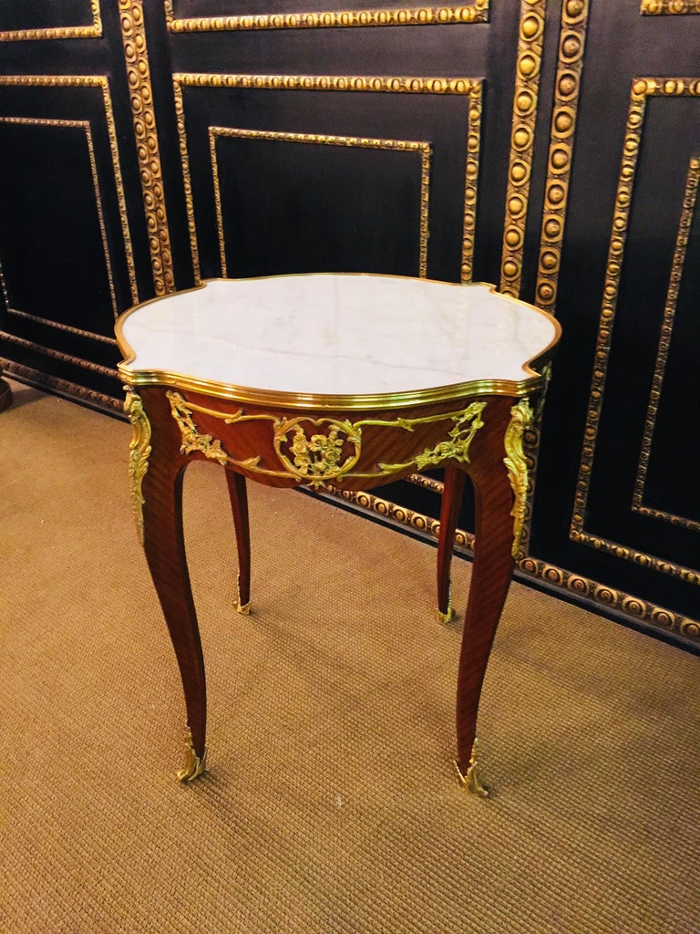 French Salon Table with Marble in Louis Quinze Stile For Sale 9