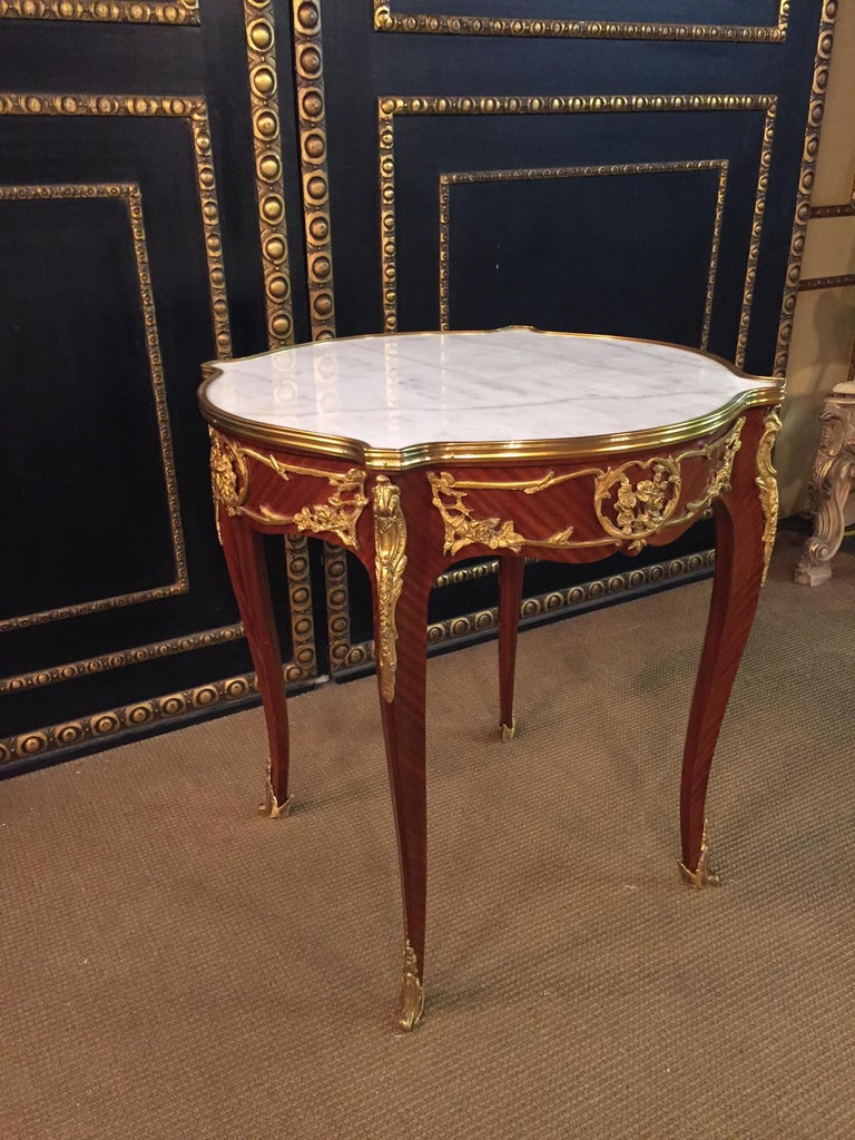 Louis XV French Salon Table with Marble in Louis Quinze Stile For Sale