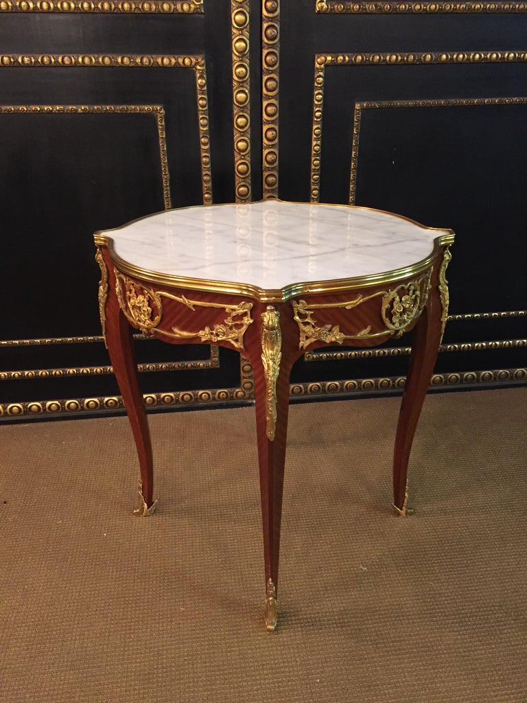 Bronzed French Salon Table with Marble in Louis Quinze Stile For Sale