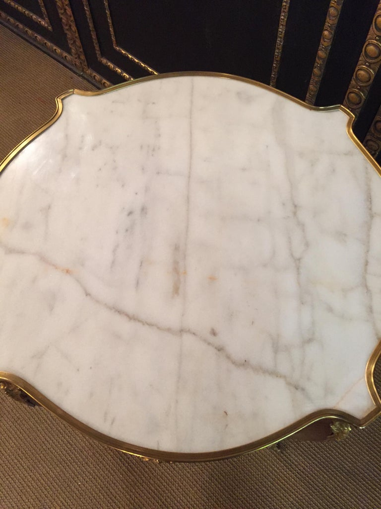 French Salon Table with Marble in Louis Quinze Stile For Sale 2