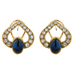 French Sapphire and Diamond Earrings