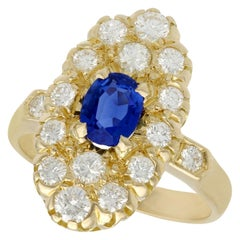 French Sapphire and Diamond Yellow Gold Cocktail Ring