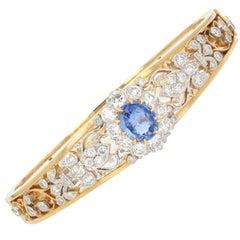 French Sapphire Diamond 18 Karat Yellow Gold Opening Bangle Bracelet