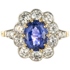 French Sapphire Diamond 18 Karat Yellow Gold Platinum Cluster Ring