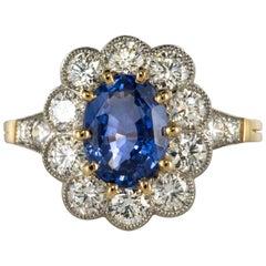 French Sapphire Diamond 18 Karat Yellow Gold Platinum Cluster Ring