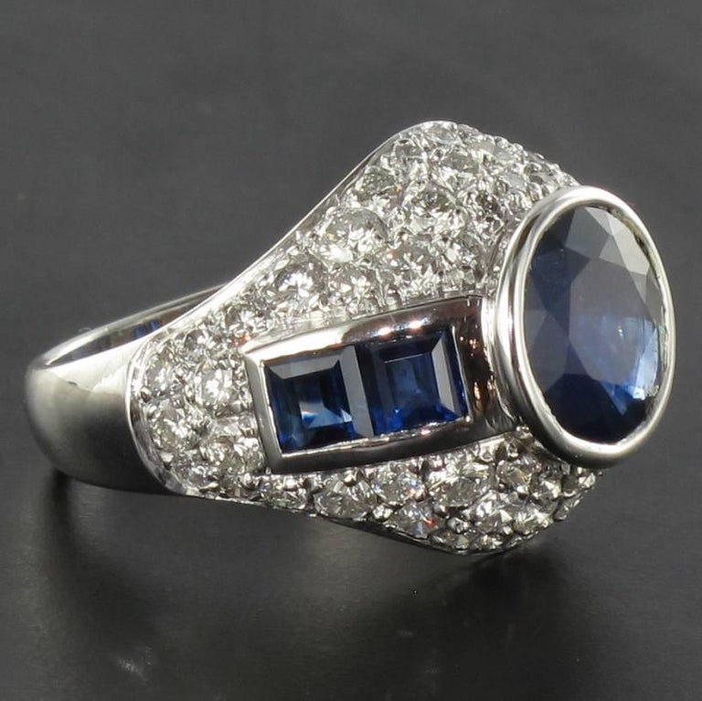 French Sapphire Diamond Platinum Ring For Sale 5