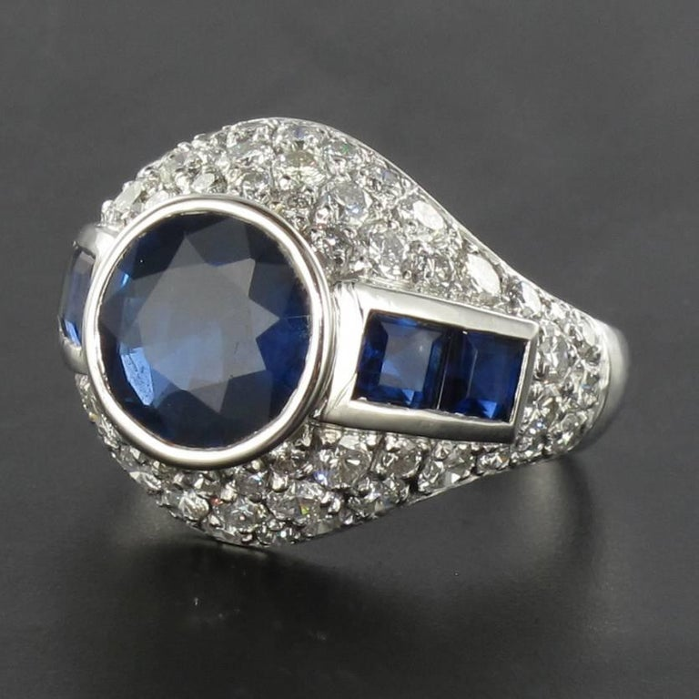 Art Deco French Sapphire Diamond Platinum Ring For Sale