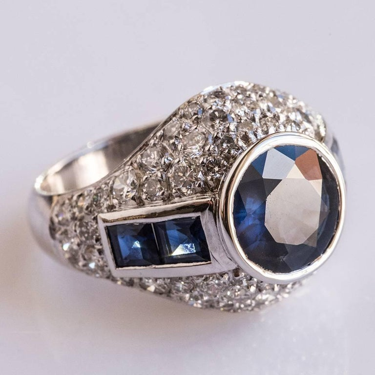 Women's French Sapphire Diamond Platinum Ring For Sale