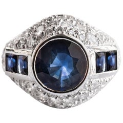 French Sapphire Diamond Platinum Ring