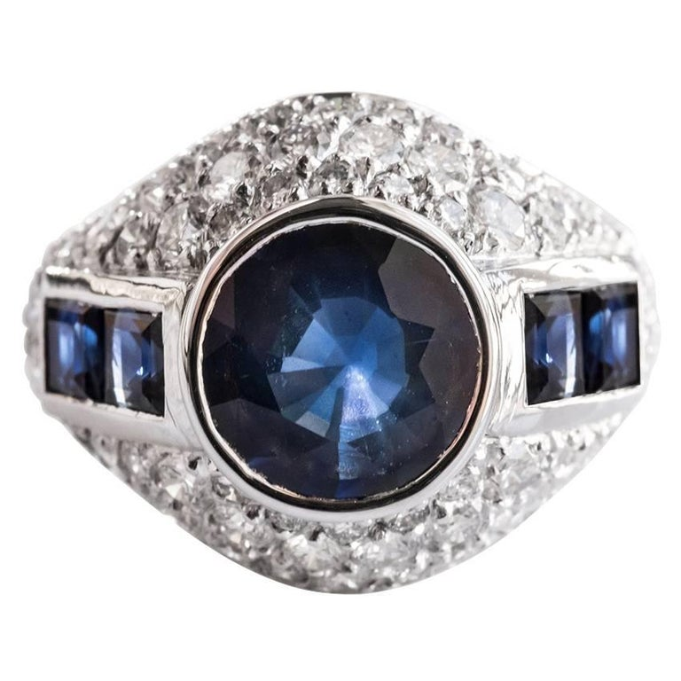 French Sapphire Diamond Platinum Ring For Sale