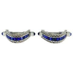 French Sapphire White Gold Unisex Cufflinks
