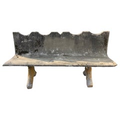 French Scalloped Concrete Bench with Faux Bois Legs