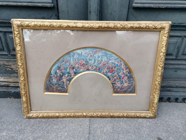 19th century watercolor framed Carved and gilded wood frame.  Measures: 80 x 56 cm  Good condition.