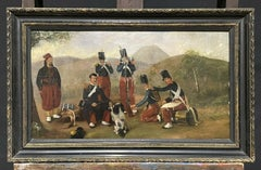 ANTIQUE FRENCH OIL PAINTING 19TH CENTURY SOLDIERS MAKING CAMP - MUSIC & DOG