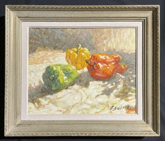 20th Century French Signed Oil - Red Green & Yellow Peppers Still Life