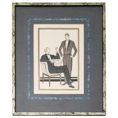 "French School ""L 'Homme Chic"" Mens Fashion Original Pochoir Print, circa 1930"