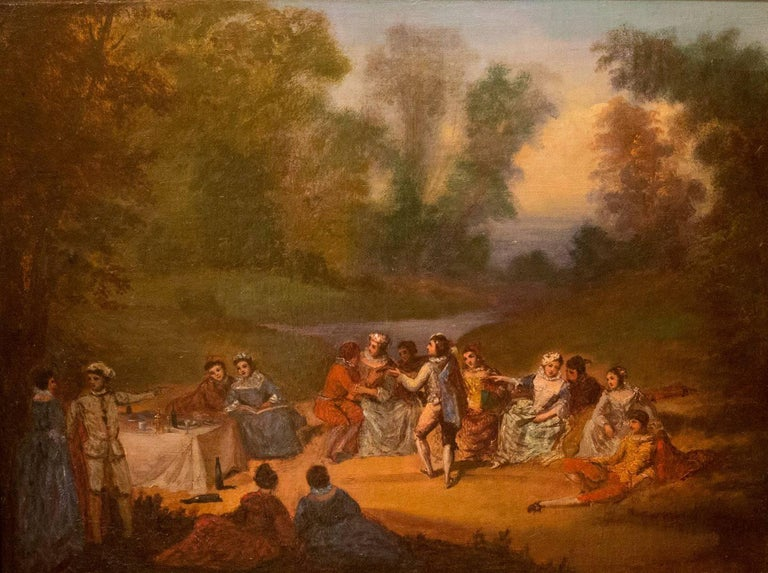 A decorative painting. Banquet scene with characters in a rural landscape.