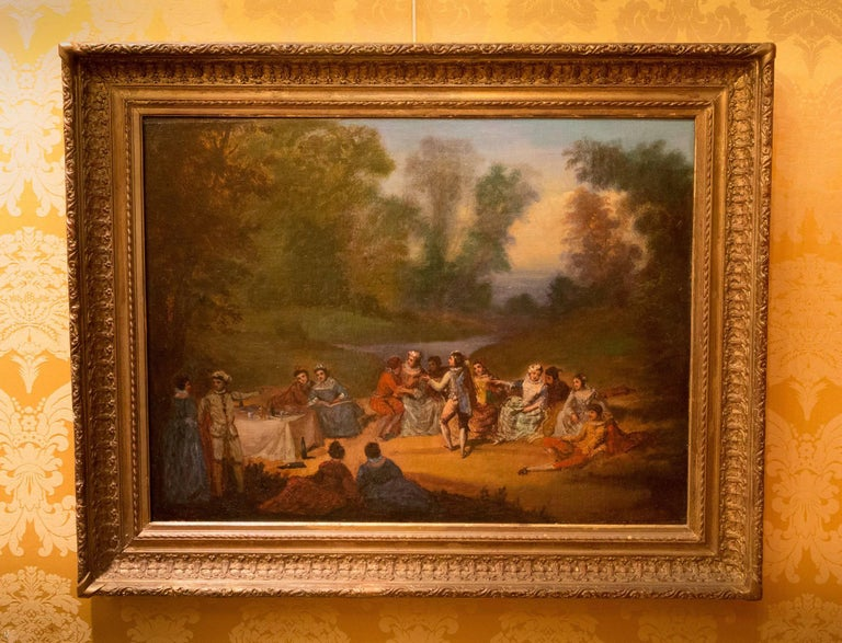 Louis XVI French School, Oil on Canvas Banquet Scene, circa 1800 For Sale