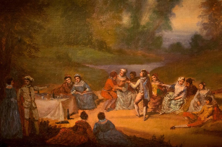 Hand-Painted French School, Oil on Canvas Banquet Scene, circa 1800 For Sale