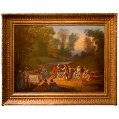 French School, Oil on Canvas Banquet Scene, circa 1800