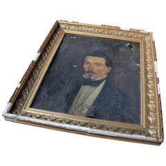 French School Oil on Canvas Portrait of a Moustachioed Gentleman, circa 1870