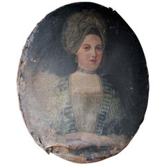 French School Oval Oil on Canvas Portrait of a Lady, circa 1700-1720