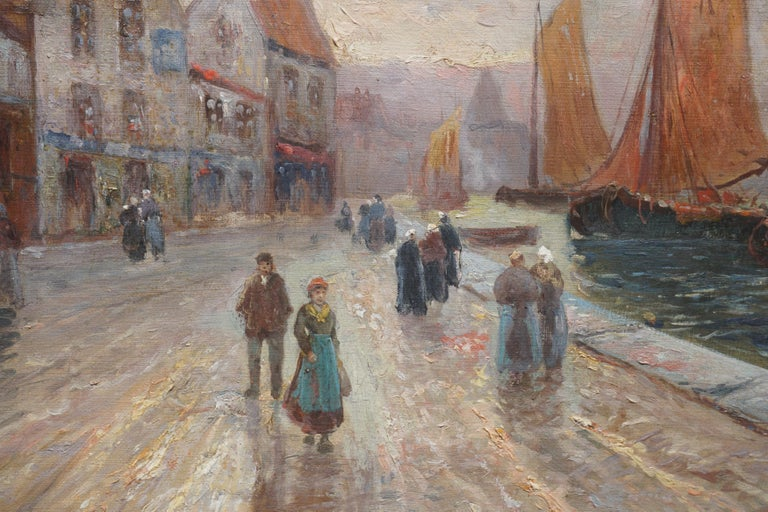 19th Century Brittany France Harbor Impressionist Landscape Scene - Painting by French School