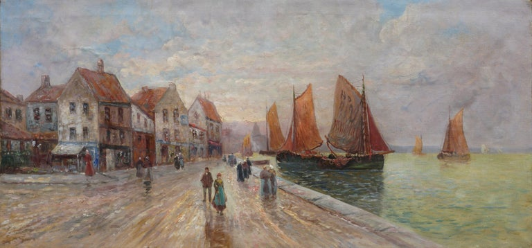 French School Landscape Painting - 19th Century Brittany France Harbor Impressionist Landscape Scene