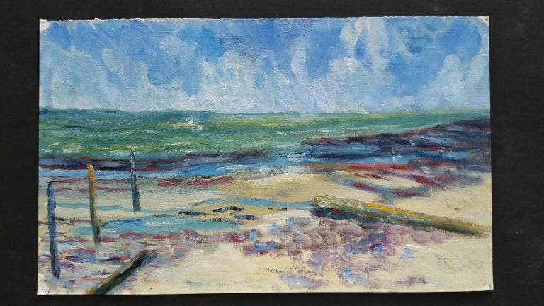 20th Century French Oil Painting A Beach in the South of France - Gray Landscape Painting by Unknown