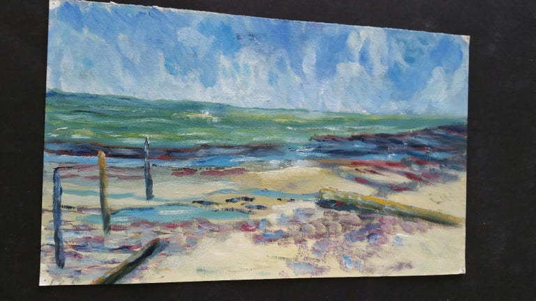 A Beach in the South of France French School, mid-late 20th century unsigned oil painting on canvas textured paper (reverse side is smooth, the painted side looks and feels as canvas), unframed overall 9 x 15 inches  We adore the colours in this