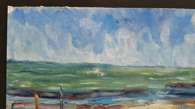 20th Century French Oil Painting A Beach in the South of France For Sale 1