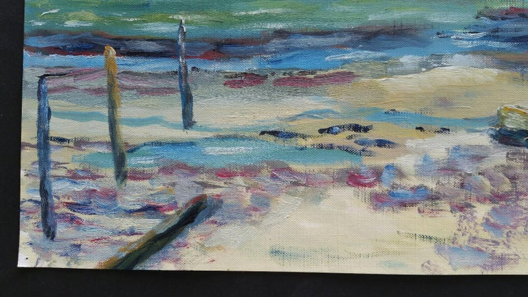 20th Century French Oil Painting A Beach in the South of France For Sale 2