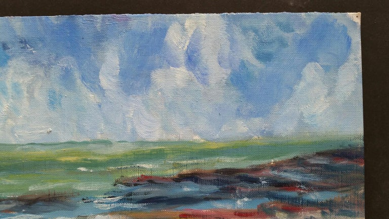 20th Century French Oil Painting A Beach in the South of France For Sale 4
