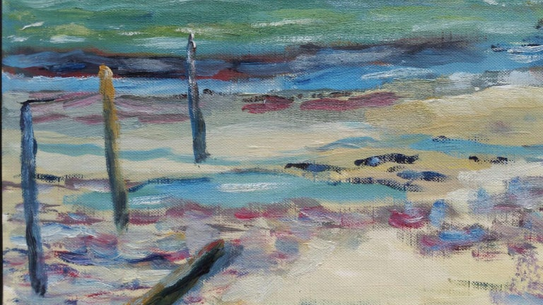 20th Century French Oil Painting A Beach in the South of France For Sale 6