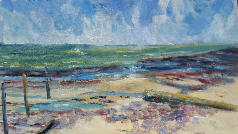 Unknown Landscape Painting - 20th Century French Oil Painting A Beach in the South of France