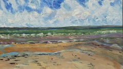 20th Century French Oil Painting A Breezy Day over the Coast