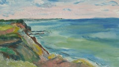 20th Century French Oil Painting A Clifftop Summer Walk
